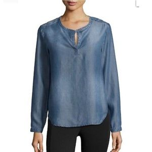 Anthropologie Cloth and Stone Chambray Top Size S
